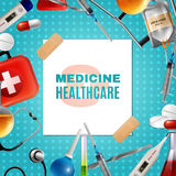 Medical Accessories Products Colorful Background Frame Royalty Free Stock Images