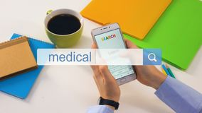Medical advice search phrase written in bar on phone, harm of self diagnostics