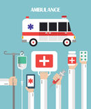 Medical Ambulance Flat background with hand Royalty Free Stock Photos