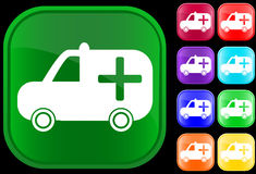 Medical ambulance icon. On shiny buttons Stock Illustration