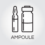 Medical ampoule for drugs or vaccine. Icon in outline style. Medical ampoule for drugs or vaccine in outline style. Black simplicity icon. Delivery care concept Royalty Free Stock Image