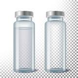 Medical Ampule Vector. 3D Realistic Transparent Glass Medical Ampule.  Illustration. Medical Ampule Vector. 3D Realistic Transparent Glass Medical Ampule Stock Photo