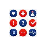 Medical analysis, annual check up, health insurance concept, icons set Royalty Free Stock Photos