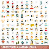 100 medical anatomy icons set, flat style. 100 medical anatomy icons set in flat style for any design vector illustration Stock Photo