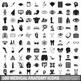 100 medical anatomy icons set, simple style. 100 medical anatomy icons set in simple style for any design vector illustration stock illustration