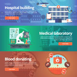 Medical And Health Banners Set. Hospital. Medical Laboratory Royalty Free Stock Images