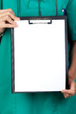 Medical anonymous with clipboard and blank paper Royalty Free Stock Photo