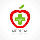Medical apple plus company logo. Medical logotype. Pharmacy colored plus cross apple as a heart. Tests, chemical, pharmaceutical centre scheme. Help and health Stock Photos
