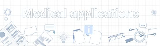 Medical Applications Word On Squared Background Horizontal Banner Online Healthcare Mobile Treatment Concept. Vector Illustration Stock Images