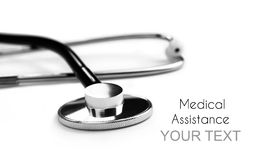 Medical assistance. Stethoscope background for medical assistance royalty free stock photography