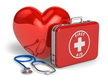 Medical assistance and cardiology concept. Red heart, case with first aid kit and stethoscope isolated on white background Royalty Free Stock Photos