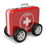 Medical assistance concept. Red case with first aid kit with car wheels isolated on white background Royalty Free Stock Images
