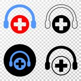 Medical Assistance Headphones Vector EPS Icon with Contour Version. Medical assistance headphones EPS vector pictogram with contour, black and colored versions stock illustration