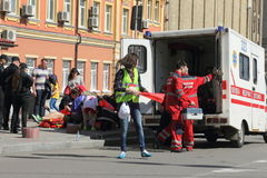Medical assistance in the marathon Stock Photo