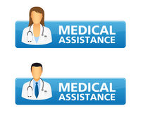 Medical assistance request buttons. With doctor icons vector illustration