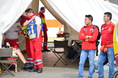 Medical assistance in the tent, Berlin 2015 Stock Photos