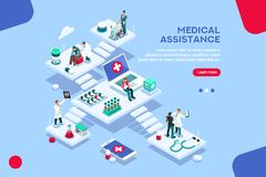 Medical Assitance Hospital Insurer Concept Vector. Persons at office, medical assistance. Patient room with healthcare insurer. Clinic insure a doctor. Insurance vector illustration