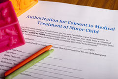 Medical Authorization of minor child Royalty Free Stock Photography