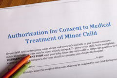 Medical Authorization of minor child Royalty Free Stock Photo