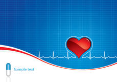 Medical background. Blue pills, heartbeat on blue medical background Royalty Free Stock Photography