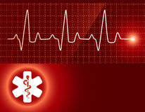 Medical background. With pulse tracing and medical sign Royalty Free Stock Images
