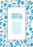 Medical background with blue icons on the white Royalty Free Stock Photos