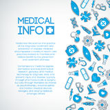 Medical background with blue icons on the white Stock Photography