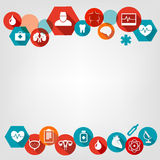 Medical background with colorful icons. Royalty Free Stock Photo