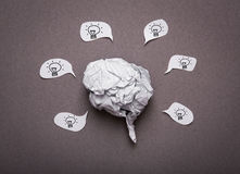 Medical background, Crumpled paper brain shape Stock Photos