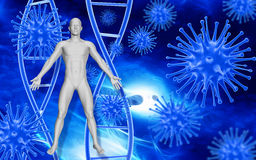 Medical background with 3D virus cells and blood cells Royalty Free Stock Photos