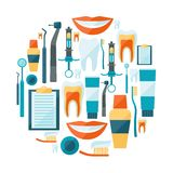 Medical background design with dental equipment Stock Image
