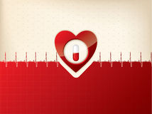 Medical background design with heart and ekg symbol Royalty Free Stock Images