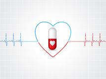 Medical background design with heart pill Royalty Free Stock Photography