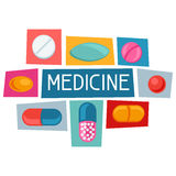Medical background design with pills and capsules Stock Photos