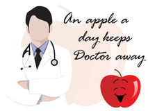 Medical background with doctor and apple Stock Images