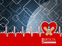 Medical background with ekg heart and blue pill Stock Photography