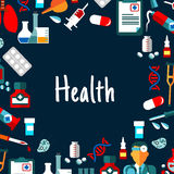 Medical background with healthcare flat icons. Medical background with text Health framed by flat icons of doctor, medicines and laboratory tubes, syringes Royalty Free Stock Image