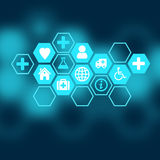 Medical background of the icons enclosed in. Hexagons stock illustration