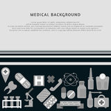 Medical background with icons on it. Medicine template. Stock Image