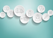 Medical Background. With icons representing medical and healthcare  topics in 3D bubbles Stock Photo