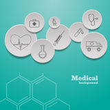 Medical background with icons representing medical and healthcar. E in 3D bubbles eps 10 royalty free illustration