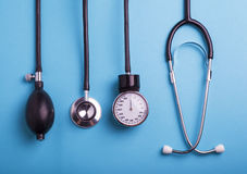 Medical background. Medical tools. Stethoscope Stock Photo