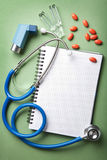 Medical background with notebook Stock Image