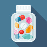 Medical background with pills and capsules in Royalty Free Stock Photos