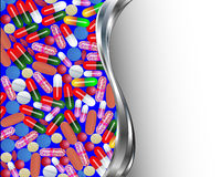 Medical background with pills and capsules pills Stock Image