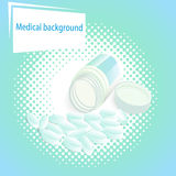 Medical  background with pills and a jar with a lid Stock Photo
