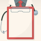Medical background with record board and stethoscope Stock Images