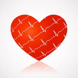 Medical background - red heart with ekg symbols ac Stock Photos