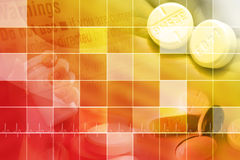 Medical Background with Squares. A red and yellow medical or pharmaceutical background for medicine. There are pills in the corners with a square pattern on top Royalty Free Stock Image