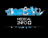 Medical background. stickers style. Blue sticker Stock Photos